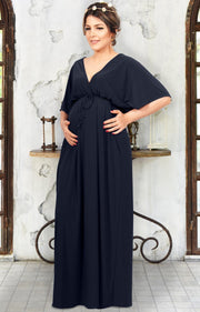 LANE - Kimono V-Neck Sleeve Elastic Sexy Maxi Dress - Dark Navy Blue / 2X Large