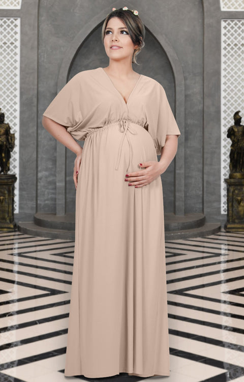 LANE - Kimono V-Neck Sleeve Elastic Sexy Maxi Dress - Nude Champagne Brown / Small