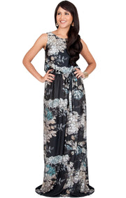 LAUREL - Sleeveless Floral Casual Summer Maxi Dress - Black / 2X Large