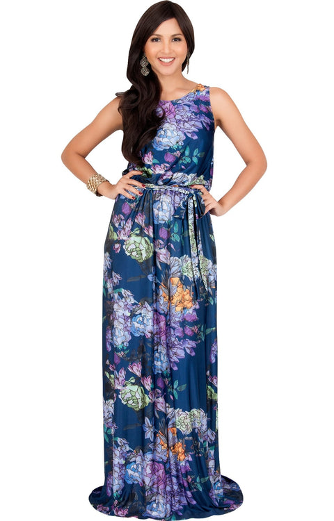 LAUREL - Sleeveless Floral Casual Summer Maxi Dress - Navy Blue & Purple / 2X Large