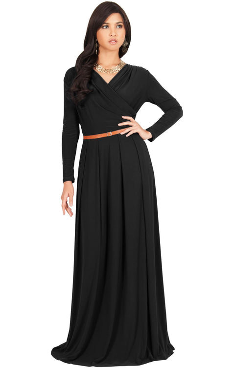 LEAH - Long Sleeves Maxi Dress Evening Empire Waist Vneck Stretchy
