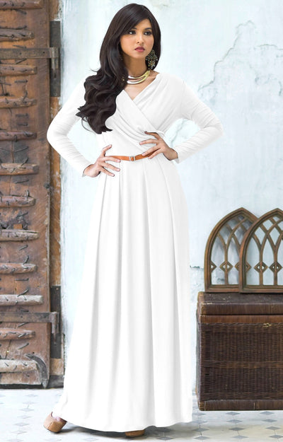 LEAH - Long Sleeves Maxi Dress Evening Empire Waist Vneck Stretchy - White / 2X Large