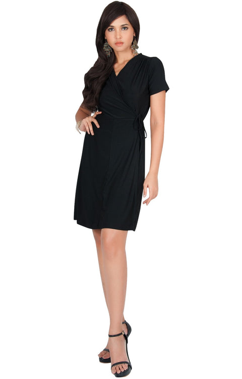 LELA - Summer Tunic Sexy Cover Up Short Sleeve Midi Mini Dress - Black / Medium