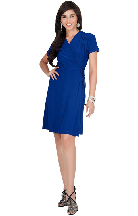 LELA - Summer Tunic Sexy Cover Up Short Sleeve Midi Mini Dress - Cobalt Royal Blue / Small