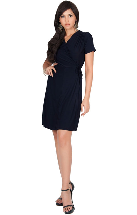 LELA - Summer Tunic Sexy Cover Up Short Sleeve Midi Mini Dress - Dark Navy Blue / Medium
