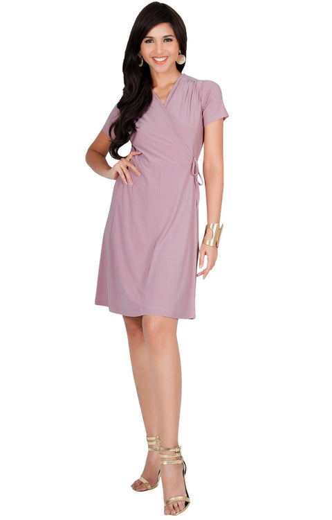 LELA - Summer Tunic Sexy Cover Up Short Sleeve Midi Mini Dress - Dusty Pink / Medium