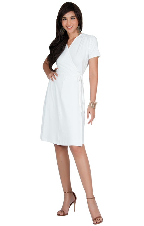 LELA - Summer Tunic Sexy Cover Up Short Sleeve Midi Mini Dress - Ivory White / Medium