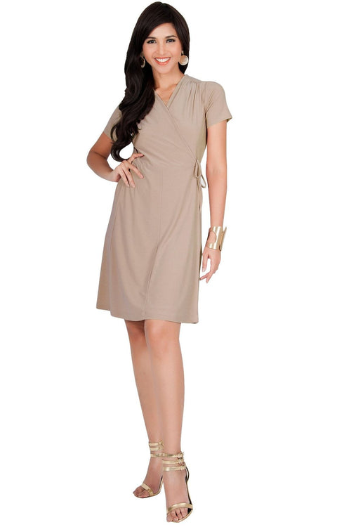 LELA - Summer Tunic Sexy Cover Up Short Sleeve Midi Mini Dress - Tan Light Brown / Medium