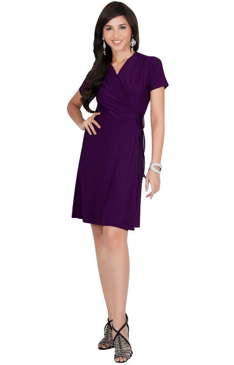 LELA - Summer Tunic Sexy Cover Up Short Sleeve Midi Mini Dress - Purple / Medium