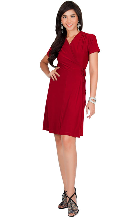 LELA - Summer Tunic Sexy Cover Up Short Sleeve Midi Mini Dress - Red / Medium