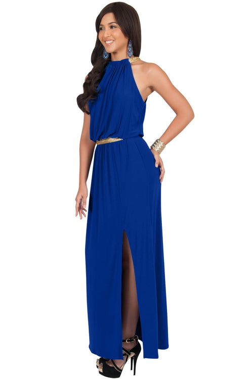LESLIE - Sleeveless Maxi Dress Halter Side Slit Beach Gown Summer