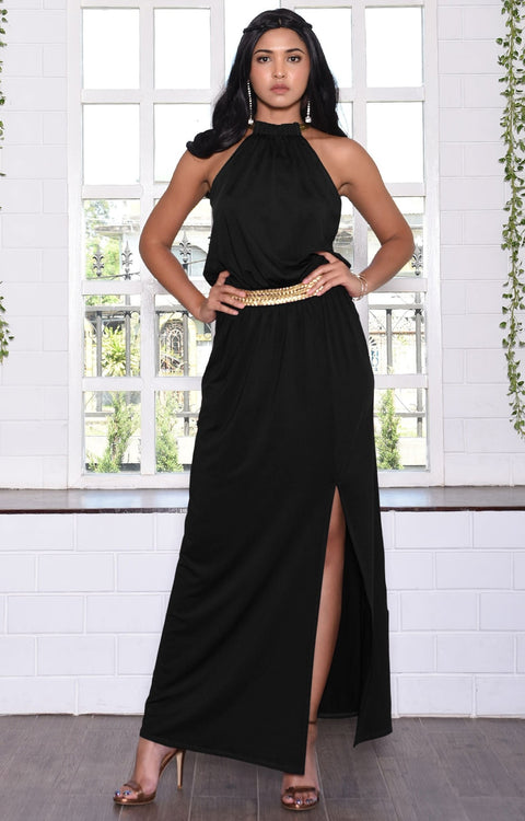 LESLIE - Sleeveless Maxi Dress Halter Side Slit Beach Gown Summer - Black / 2X Large