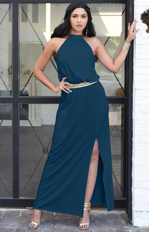 LESLIE - Sleeveless Maxi Dress Halter Side Slit Beach Gown Summer - Blue Teal / 2X Large