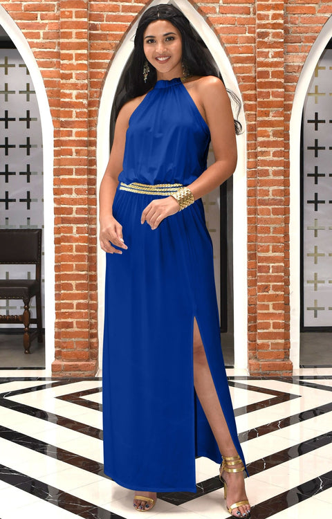 LESLIE - Sleeveless Maxi Dress Halter Side Slit Beach Gown Summer - Cobalt Royal Blue / Small
