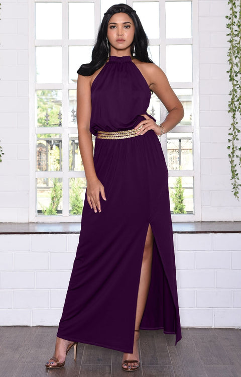 LESLIE - Sleeveless Maxi Dress Halter Side Slit Beach Gown Summer - Purple / 2X Large