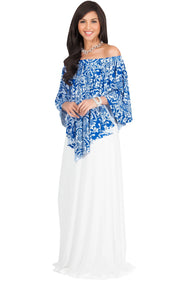 LEXY - Strapless Flowy Evening Damask Print Summer Maxi Dress