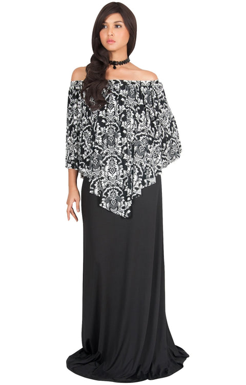 LEXY - Strapless Flowy Evening Damask Print Summer Maxi Dress - Black & White / Large