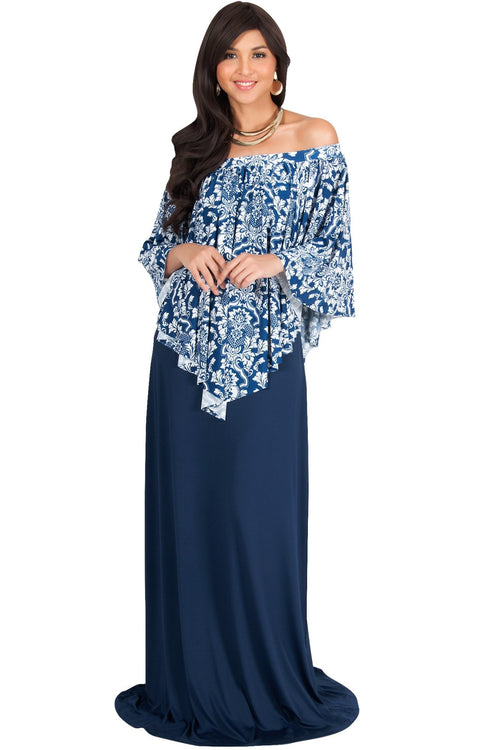 LEXY - Strapless Flowy Evening Damask Print Summer Maxi Dress - Navy Blue & White / Large