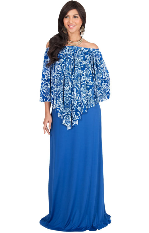 LEXY - Strapless Flowy Evening Damask Print Summer Maxi Dress - Royal Blue & White / Large