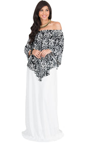 LEXY - Strapless Flowy Evening Damask Print Summer Maxi Dress - White & Black / Large