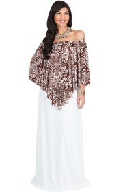 LEXY - Strapless Flowy Evening Damask Print Summer Maxi Dress - White & Brown / Large