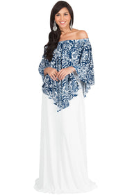 LEXY - Strapless Flowy Evening Damask Print Summer Maxi Dress - White & Navy Blue / Large