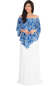 LEXY - Strapless Flowy Evening Damask Print Summer Maxi Dress - White & Royal Blue / Large