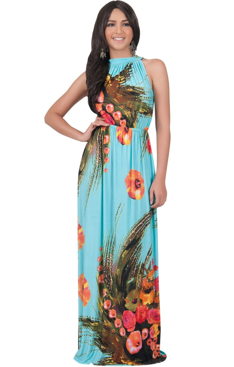 LILY - Garden Floral Hawaiian Print Halter Neck Maxi Dress - Baby Light Blue / Extra Large