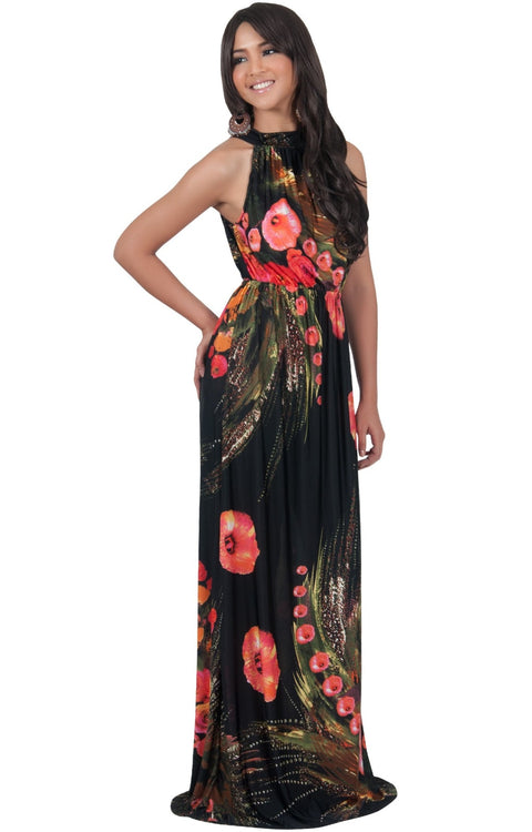 LILY - Garden Floral Hawaiian Print Halter Neck Maxi Dress