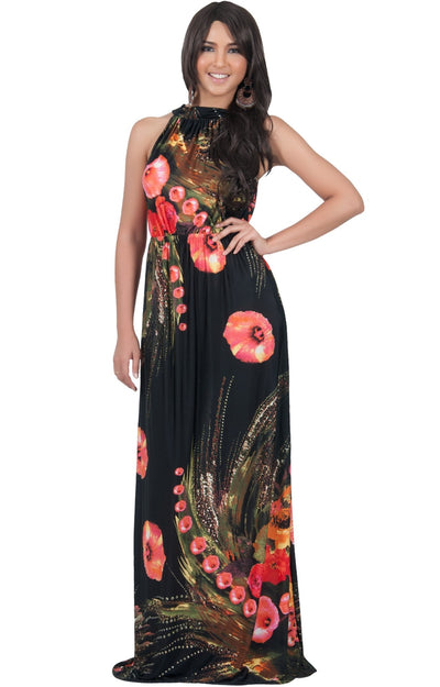 LILY - Garden Floral Hawaiian Print Halter Neck Maxi Dress - Pink & Black / Extra Large