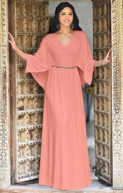 LINA - Flutter Sleeve V-neck Flowy Long Evening Kaftan Maxi Dress Gown