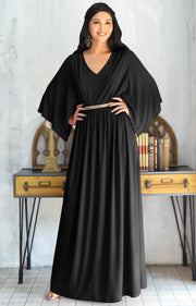 LINA - Flutter Sleeve V-neck Flowy Long Evening Kaftan Maxi Dress Gown - Black / 2X Large