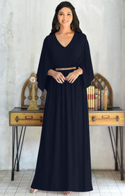 LINA - Flutter Sleeve V-neck Flowy Long Evening Kaftan Maxi Dress Gown - Dark Navy Blue / 2X Large