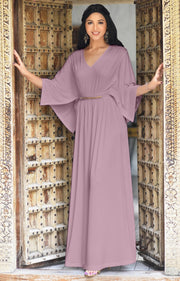 LINA - Flutter Sleeve V-neck Flowy Long Evening Kaftan Maxi Dress Gown - Dusty Pink / 2X Large