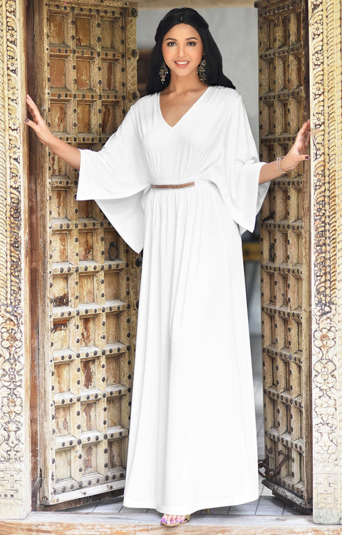 LINA - Flutter Sleeve V-neck Flowy Long Evening Kaftan Maxi Dress Gown - Ivory White / 2X Large