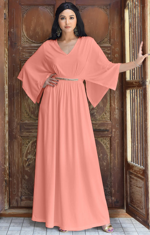 LINA - Flutter Sleeve V-neck Flowy Long Evening Kaftan Maxi Dress Gown - Light Pink Peach / 2X Large