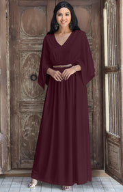 LINA - Flutter Sleeve V-neck Flowy Long Evening Kaftan Maxi Dress Gown - Maroon Wine Red / 2X Large