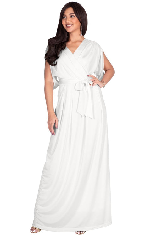 LISA - Long Formal Short Sleeve Evening Bridesmaid Maxi Dress Gown - Ivory White / Extra Small