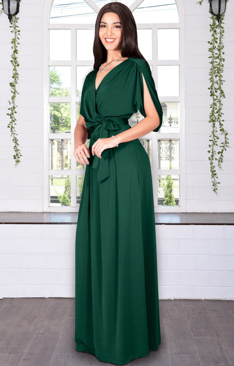 LISA - Long Formal Short Sleeve Evening Bridesmaid Maxi Dress Gown