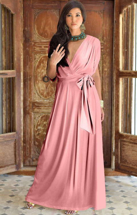 LISA - Long Formal Short Sleeve Evening Bridesmaid Maxi Dress Gown - Cinnamon Rose Pink / Extra Small