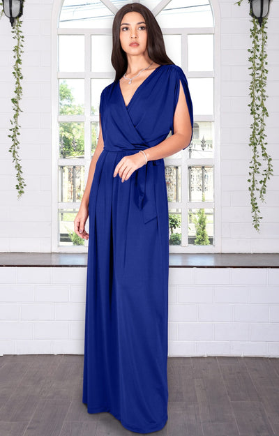 LISA - Long Formal Short Sleeve Evening Bridesmaid Maxi Dress Gown - Black / Extra Small