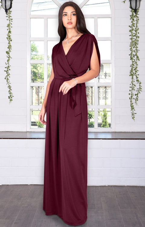 LISA - Long Formal Short Sleeve Evening Bridesmaid Maxi Dress Gown - Maroon Wine Red / Extra Small