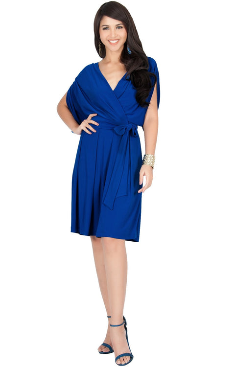 LOUISA - Batwing Sleeve V-Neck Semi Formal Midi Dress
