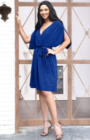 LOUISA - Batwing Sleeve V-Neck Semi Formal Midi Dress - Cobalt Royal Blue / Small