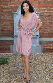 LOUISA - Batwing Sleeve V-Neck Semi Formal Midi Dress - Dusty Pink / 2X Large