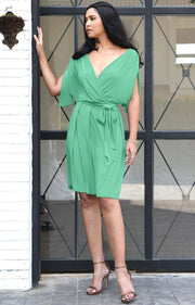 LOUISA - Batwing Sleeve V-Neck Semi Formal Midi Dress - Light Emerald Green / Small