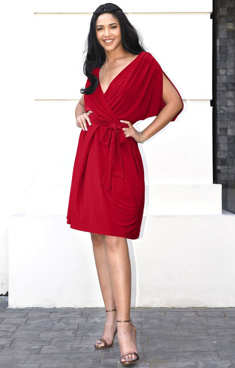 LOUISA - Batwing Sleeve V-Neck Semi Formal Midi Dress - Red / 2X Large