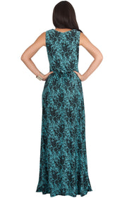 LUCIA - Sleeveless V-Neck Floral Print Summer Maxi Gown