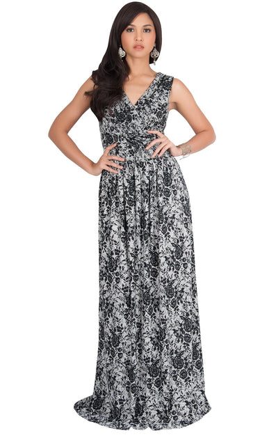 LUCIA - Sleeveless V-Neck Floral Print Summer Maxi Gown - Black & Off White / Small
