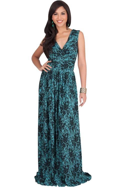 LUCIA - Sleeveless V-Neck Floral Print Summer Maxi Gown - Green & Black / Small